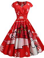 Недорогие -Жен. Винтаж Классический С летящей юбкой Платье - Геометрический принт В снежинку, С принтом До колена Дед Мороз