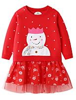 Недорогие -Дети Девочки Симпатичные Стиль Мультипликация Платье Красный