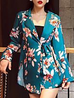 Недорогие -Жен. Блейзер, Цветочный принт Лацкан с тупым углом Полиэстер Тёмно-синий / Зеленый