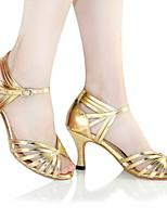 Недорогие -Жен. Танцевальная обувь Искусственная кожа Обувь для латины На каблуках Тонкий высокий каблук Золотой