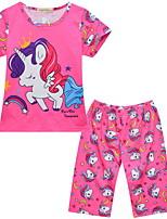 Недорогие -Дети (1-4 лет) Девочки Активный Мультипликация С короткими рукавами Набор одежды Розовый
