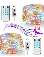 Недорогие -Светодиодные фея струнные огни - USB 33 фута 100 светодиодные водонепроницаемые фары окружающего света с дистанционным управлением - 2 шт
