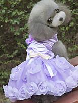 Недорогие -Собаки Платья Одежда для собак Цветочные / ботанический Лиловый Пурпурный Полиэстер Костюм Назначение Лето Мужской Свадьба