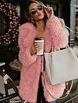 Недорогие -Жен. Повседневные Наступила зима Обычная Искусственное меховое пальто, Однотонный Отложной Длинный рукав Искусственный мех Черный / Розовый