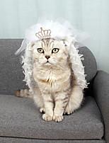Недорогие -Собаки Коты Животные Орнаменты Одежда для собак Кружева Белый Полиэстер Костюм Назначение Лето Свадьба