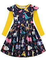 Недорогие -Дети Девочки Симпатичные Стиль Животное Платье Желтый