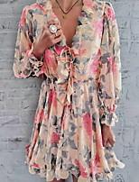 Недорогие -Жен. Классический Оболочка Платье - Цветочный принт Мини