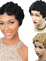 Недорогие -Парики из искусственных волос Свободные волны Волнистые Стиль Стрижка под мальчика Машинное плетение Без шапочки-основы Парик Блондинка Блондинка Черный Искусственные волосы 10 дюймовый Жен.