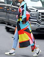 Недорогие -Жен. Повседневные Длинная Пальто, Контрастных цветов Лацкан с тупым углом Длинный рукав Полиэстер Синий
