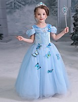 cheap -Princess Dress Girls' Movie Cosplay Princess Vacation Dress Blue Dress Halloween