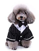 Недорогие -Собаки Инвентарь смокинг Одежда для собак Полоски Черный Полиэстер Костюм Назначение Осень Женский Свадьба