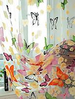 Недорогие -С цветами Прозрачный 1 панель Прозрачный Девочки   Curtains