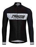 Недорогие -21Grams Муж. Длинный рукав Велокофты Черный Велоспорт Джерси Верхняя часть Сохраняет тепло Устойчивость к УФ Дышащий Виды спорта Зима 100% полиэстер Горные велосипеды Шоссейные велосипеды Одежда