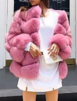 Недорогие -Жен. Повседневные Наступила зима Обычная Искусственное меховое пальто, Однотонный V-образный вырез Длинный рукав Искусственный мех Винный / Белый / Серый