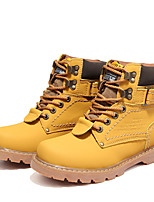 cheap -Unisex Boots Flat Heel Round Toe Daily Outdoor Nappa Leather Light Brown / Dark Brown / Yellow