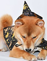 Недорогие -Собаки Костюмы Шарф для собаки Волшебная Шляпа Одежда для собак Животное Черный Полиэстер Костюм Назначение Зима Животный принт Хэллоуин