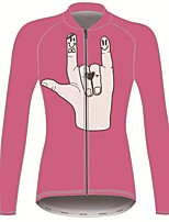 Недорогие -21Grams Мир и Любовь Жен. Длинный рукав Велокофты - Розовый Велоспорт Джерси Верхняя часть Сохраняет тепло Устойчивость к УФ Дышащий Виды спорта Зима 100% полиэстер / Эластичная / Быстровысыхающий