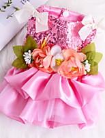 Недорогие -Собаки Коты Животные Платья Одежда для собак Цветочные / ботанический Кружева Темно-синий Розовый Полиэстер Костюм Назначение Лето Свадьба