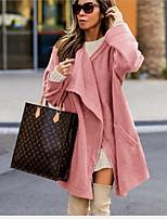 Недорогие -Жен. Повседневные Зима Длинная Пальто, Однотонный V-образный вырез Длинный рукав Полиэстер Розовый / Зеленый