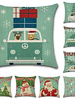 Недорогие -1 штук Хлопок / Лён Наволочка, Праздник Рождество Мода Рождество Бросить подушку