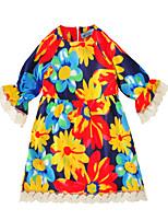 Недорогие -Дети (1-4 лет) Девочки Активный Классический Цветочный принт С принтом С короткими рукавами До колена Платье Цвет радуги
