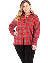 Недорогие -Жен. С принтом Рубашка Классический Цветочный принт Красный
