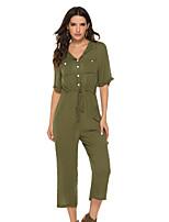 Недорогие -Жен. Военно-зеленный Комбинезоны, Однотонный S M L