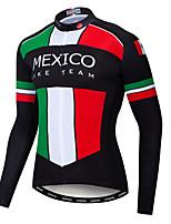 Недорогие -WEIMOSTAR Мексика Флаги Муж. Длинный рукав Велокофты - Черный / красный Велоспорт Спортивный костюм Джерси Верхняя часть Сохраняет тепло Дышащий Быстровысыхающий Виды спорта Зима / Эластан