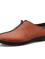 cheap -Men's Moccasin Cowhide Spring & Summer Casual / British Loafers & Slip-Ons Walking Shoes Breathable Black / Brown / Light Brown