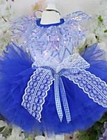 Недорогие -Собаки Инвентарь Платья Одежда для собак Контрастных цветов Синий Полиэстер Костюм Назначение Лето Свадьба