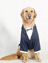 Недорогие -Собаки Плащи смокинг Одежда для собак Полоски Темно-синий Полиэстер Костюм Назначение Лето Свадьба