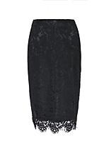 Недорогие -Жен. Классический / Секси Облегающий силуэт Подол Однотонный Черный Темно синий Серый S M L