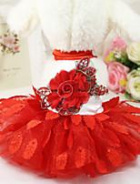 Недорогие -Собаки Платья Одежда для собак Цветочные / ботанический Красный Полиэстер Костюм Назначение Лето Мужской Свадьба