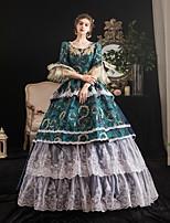 cheap -Maria Antonietta Vintage Rococo Medieval Winter Dress Party Costume Masquerade Women's Costume Blue Vintage Cosplay Party Masquerade 3/4-Length Sleeve Floor Length Ball Gown