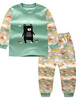 Недорогие -Дети Дети (1-4 лет) Мальчики Классический С принтом Длинный рукав Набор одежды Зеленый