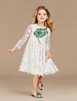 Недорогие -Дети Девочки Симпатичные Стиль Растения Платье Белый