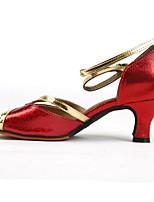 Недорогие -Жен. Танцевальная обувь Полиуретан Обувь для латины На каблуках Толстая каблук Персонализируемая Золотой / Красный / Хаки