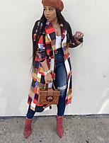 Недорогие -Жен. Повседневные Длинная Пальто, Контрастных цветов Лацкан с тупым углом Длинный рукав Полиэстер Коричневый