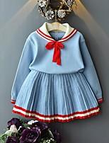 Недорогие -Дети Девочки Классический Однотонный Длинный рукав Набор одежды Светло-синий