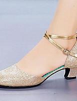 Недорогие -Жен. Танцевальная обувь Искусственная кожа Обувь для латины На каблуках Толстая каблук Черный / Золотой