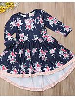 Недорогие -Дети Девочки Цветочный принт Платье Темно синий