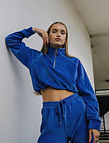 cheap -Women's Sweatshirt Pullover Sweatshirts Blue Half Zip Pure Color Crop Top High Neck Solid Color Cute Sport Athleisure Sweatshirt Long Sleeve Comfortable Exercise & Fitness Everyday Use Causal Casual