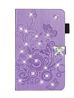 Недорогие -Кейс для Назначение Apple iPad Mini 3/2/1 / iPad Mini 4 / iPad Mini 5 Кошелек / Бумажник для карт / Стразы Чехол Однотонный / Бабочка Кожа PU
