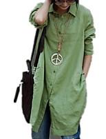 Недорогие -Жен. Рубашка Однотонный Зеленый