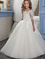 Недорогие -Дети (1-4 лет) Девочки Активный Геометрический принт Кружева Рукав до локтя Макси Платье Белый