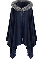 Недорогие -Жен. Повседневные Обычная Пальто, Однотонный Капюшон Длинный рукав Полиэстер Черный / Винный / Синий