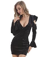 Недорогие -Жен. Богемный Уличный стиль Облегающий силуэт Оболочка Маленькое черное Платье - Однотонный, Пайетки Выше колена