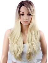 Недорогие -Парики из искусственных волос Естественные кудри Kardashian Стиль Свободная часть Машинное плетение Без шапочки-основы Парик Омбре Черный и золотой Искусственные волосы 18 дюймовый Жен. / Без запаха