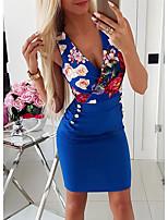 Недорогие -Жен. Оболочка Платье - Цветочный принт Выше колена