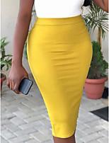 Недорогие -Жен. Облегающий силуэт Подол Однотонный Черный Белый Желтый S M L